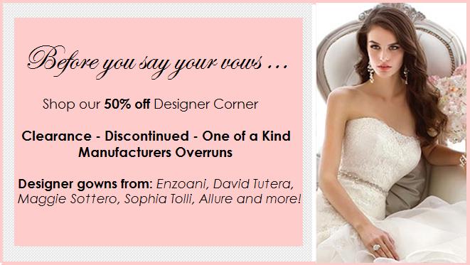 designer bridal clearance sale