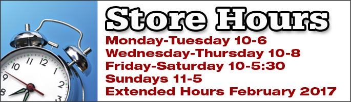 Monday & Tuesday 10am to 6pm, Wednesday & Thursday 10am to 8pm, Friday & Saturday 10am - 5:30pm and Sundays 11am - 5pm