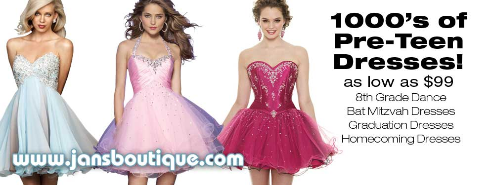 Thousands of Pre Teen/8th grade Dresses.
