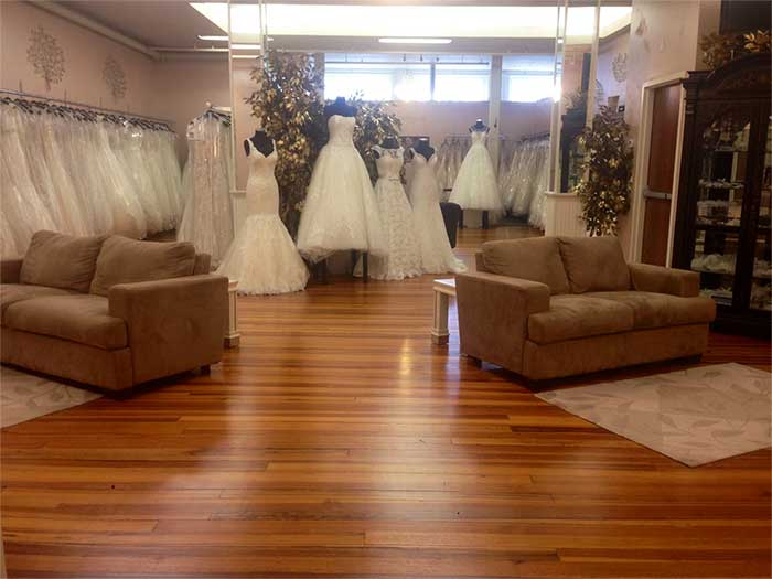 wedding dress try on area in our shop