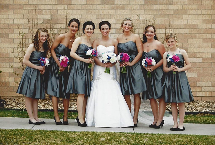 a bride with bridesmaids