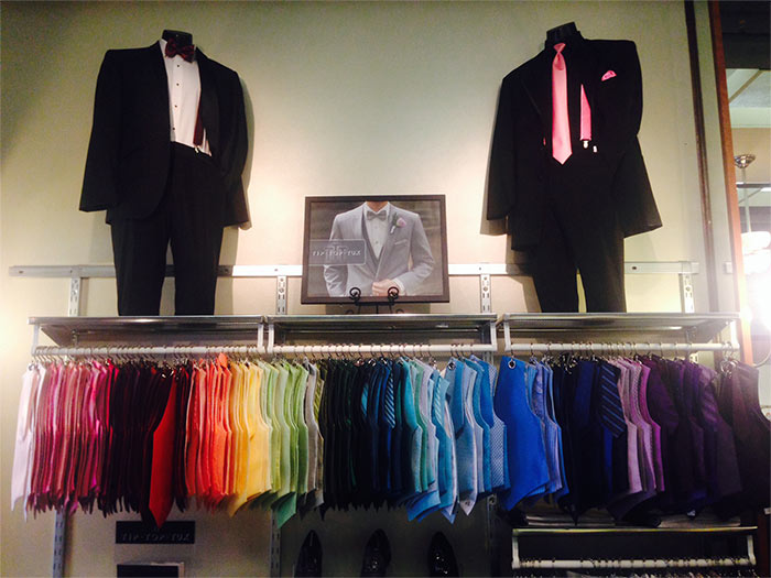 tuxedo and tuxedo accessory station in our shop