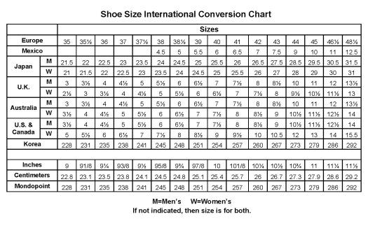 Shoe conversion chart