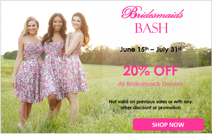 Bridesmaids Bash June and July 20% off