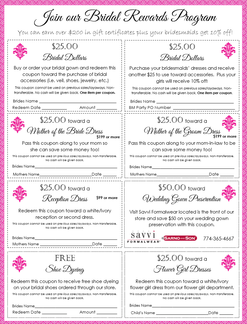 Bridal Rewards package for Party Dress Express