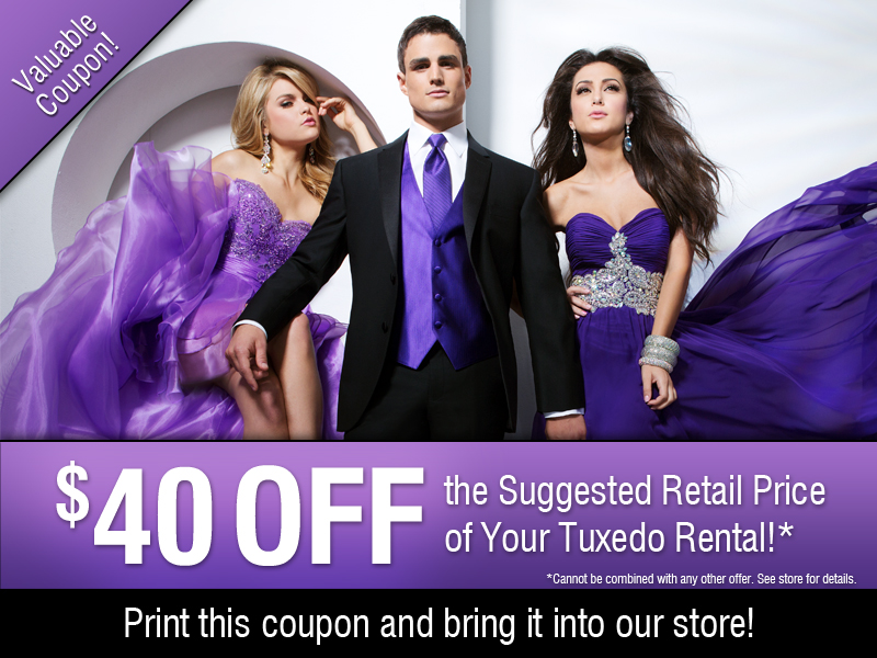 $40.00 Off Tuxedo Coupons Celebrations