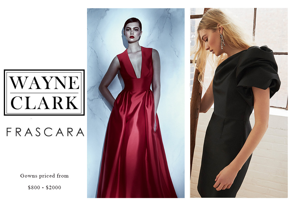 Beker Fashions: Frascara and Wayne Clark Gowns Priced from $800 - $2000