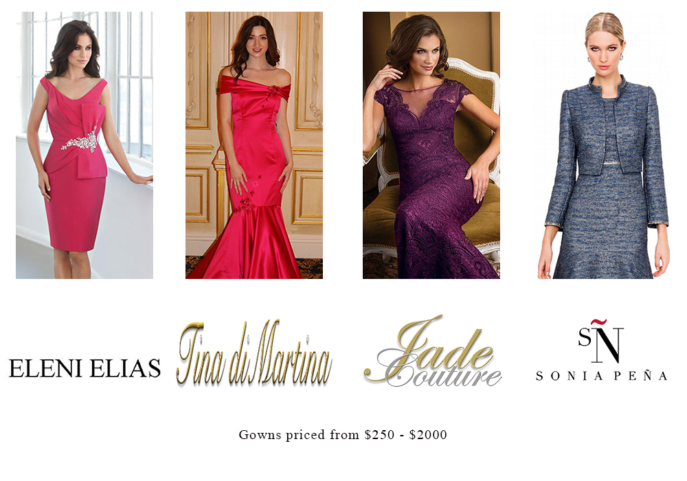 Mother of the Bride Discontinued Gowns Priced $200 - $2000 from these designers and more: Eleni Elias, Tina di Martina, Jade Couture, and Sonia Pena