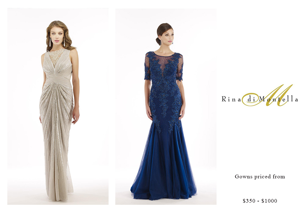 Rina di Montella Gowns Priced $350 - $1000